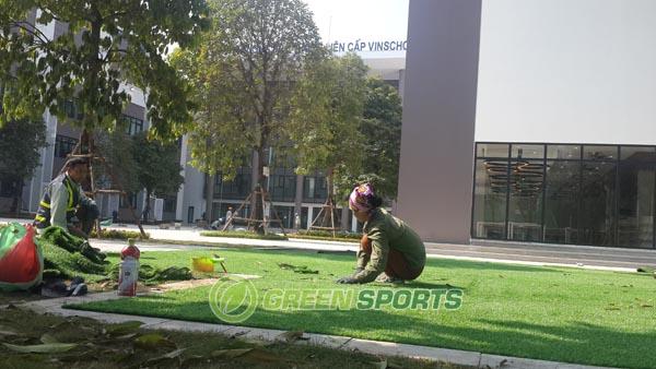 Thi công cỏ sân vườn trường PTLC VinSchool